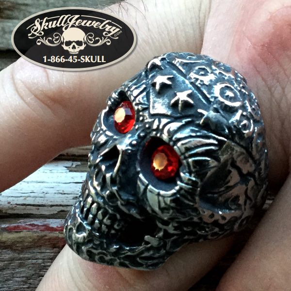 'Knockin on Heaven's Door' Big, Bold & Heavy Skull Ring Red Gem Stone Eyes