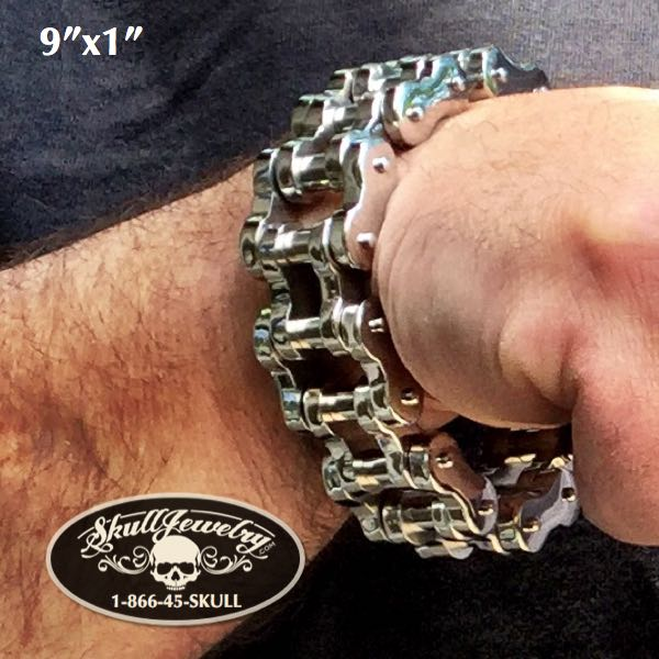 "Back In-Stock 9"" x 1"" Stainless Steel Motorcycle Chain Bracelet - Big, Bold & Heavy"