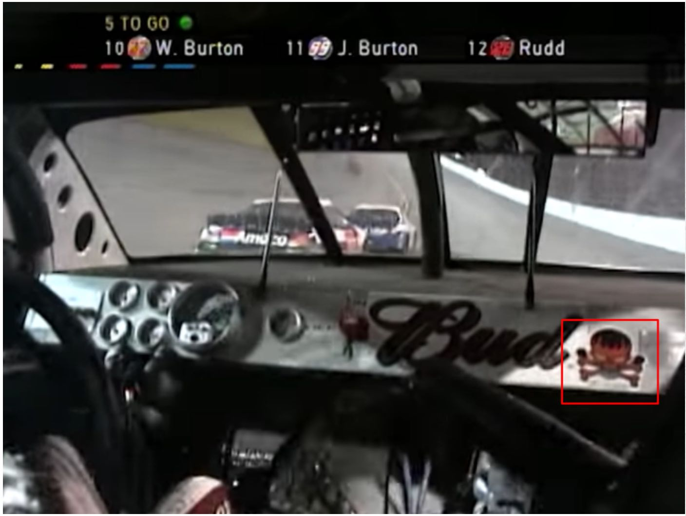 Dale Earnhardt Jr. dashboard in the 2001 Pepsi 400 Shows Skull & Bones