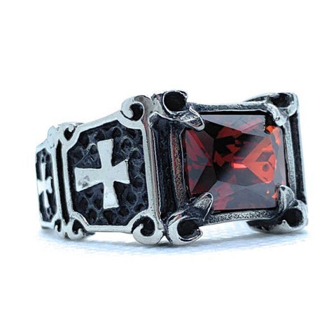 "Return of the ""Gypsy Queen"" Faceted Rectangle Onyx Gem Stainless Steel Ring with Crosses"