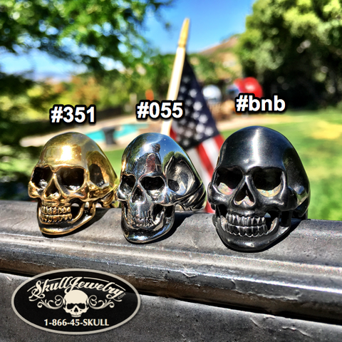 back in black skull ring in 3 colors; black, gold or stainless steel