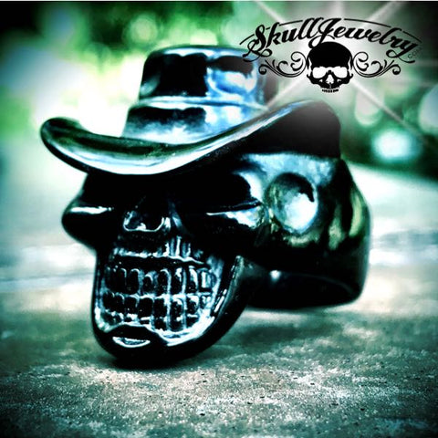 black cowboy skull ring with hat