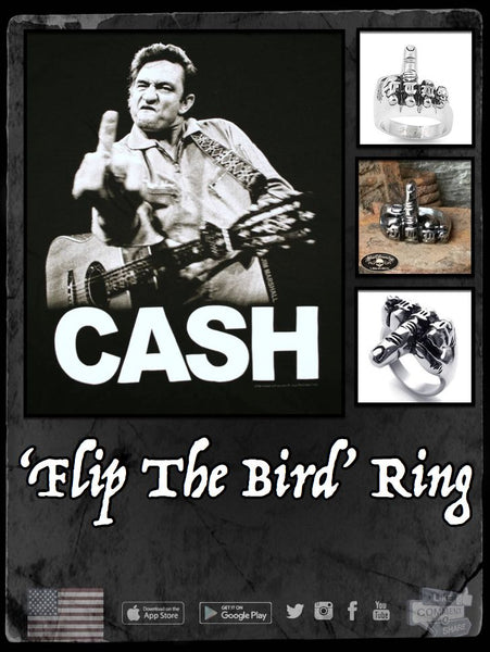 johnny cash flipping the bird ring