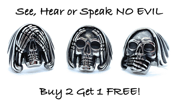 'See, Hear, Speak No Evil' Rings