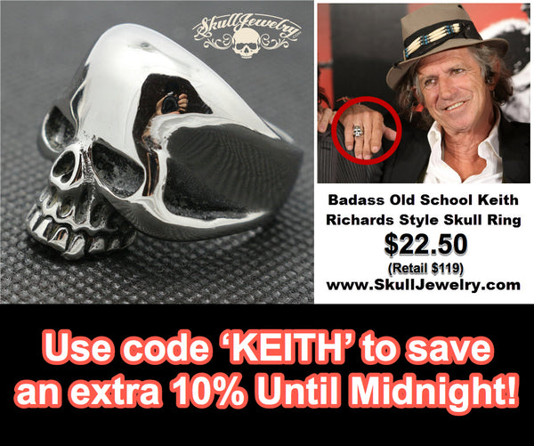 save an extra 10% off the 'Old School' Keith Richards Style Skull Ring