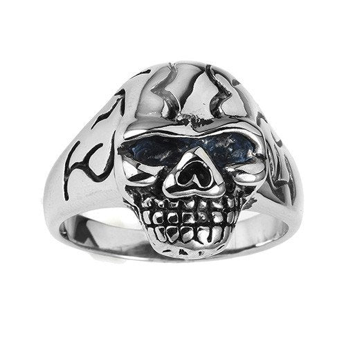 Stainless Steel Cracked Head Skull Ring (001)