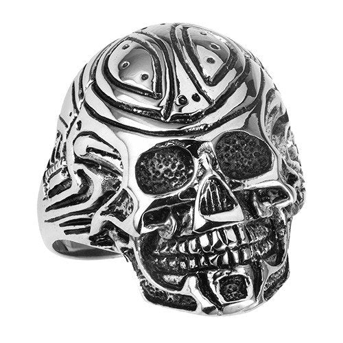 Stainless Steel Tribal Skull Ring (002)