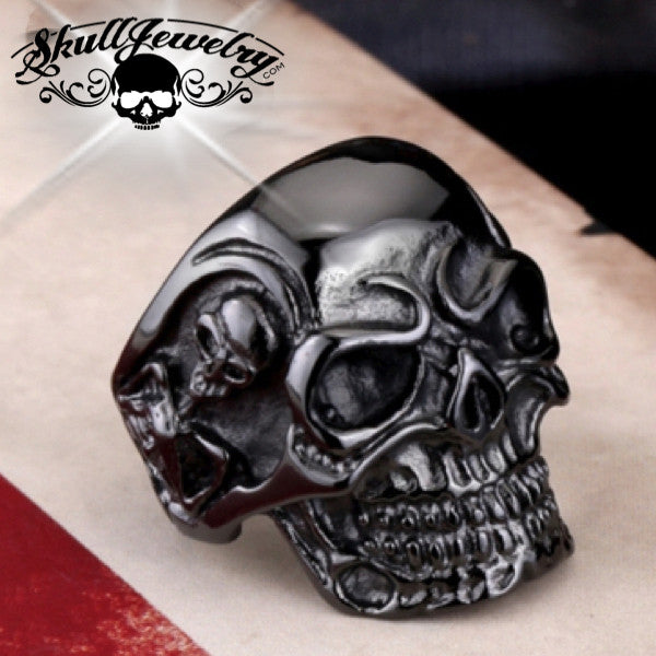 Black Biker Skull Ring With Side Skeletons