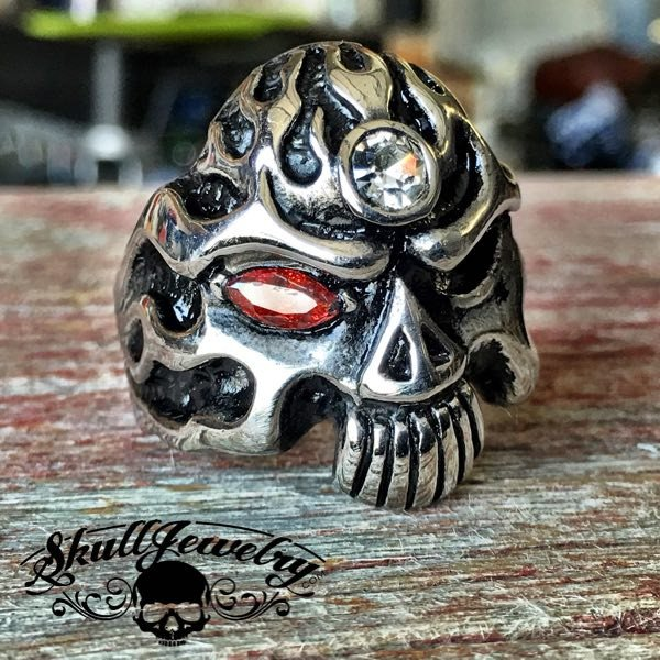 'Journey to the Center of the Mind' Skull Ring with Stones