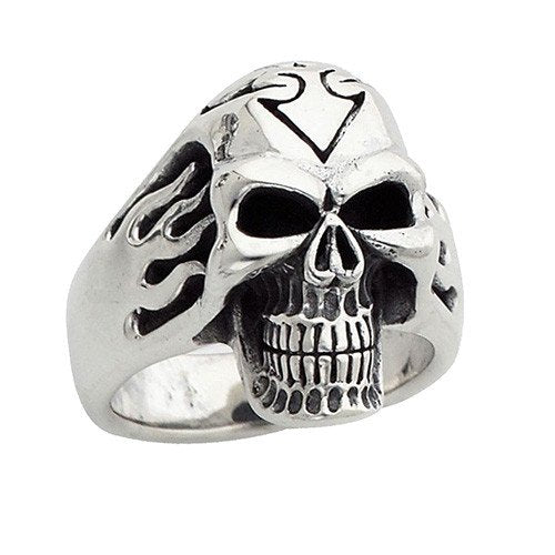 Side Flames Biker Skull Ring (017)