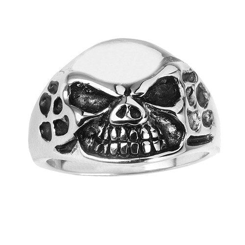 Stainless Steel Men Skull Ring With Diamond Design On Sides (019)