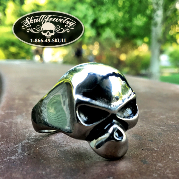 'Close Enough To Perfect' Stainless Steel Skull Ring