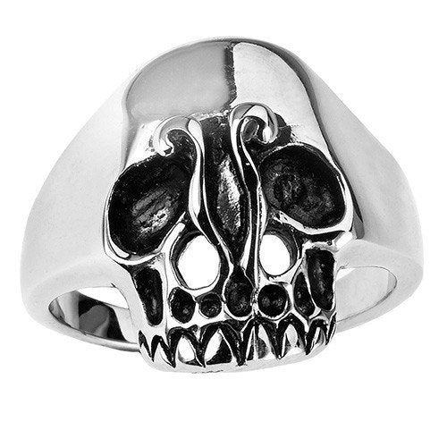 Stainless Steel Smooth Forehead Skull Ring (022)