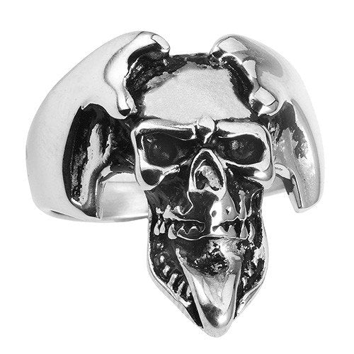 Stainless Steel Joker Skull Ring with Long Tounge (038)