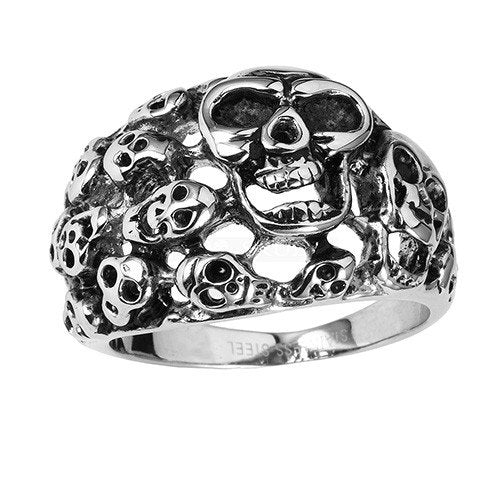 Stainless Steel Multi Skulls Biker Ring (040)
