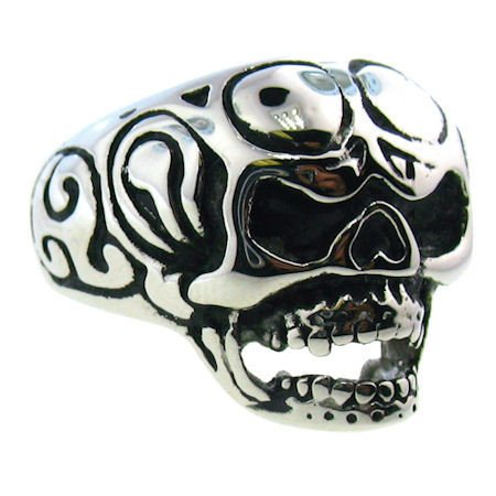 This Open Mouth Skull Ring With Motorcycle Goggles on Forehead