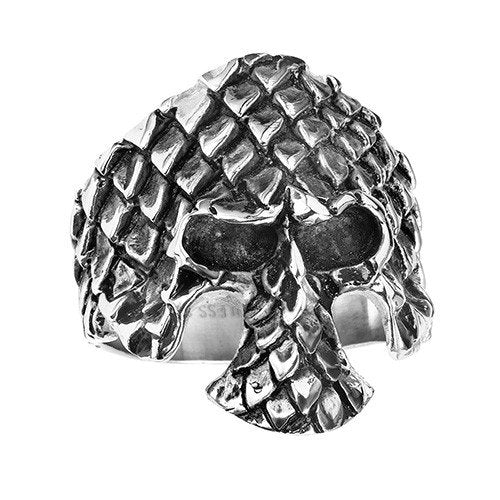 Stainless Steel Skull With Scales Ring (053)