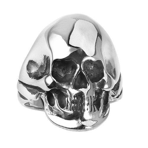 Shiny Stainless 'Back In Black'  Biker Skull Ring (055)