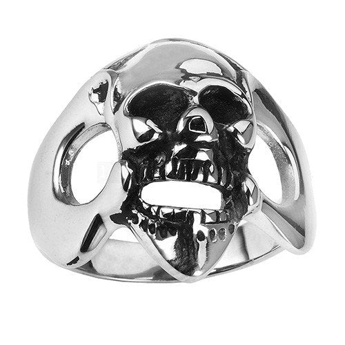 Stainless Steel Laughing Skull Ring (056)