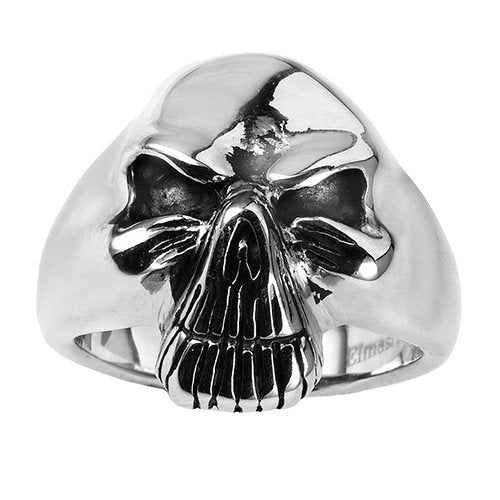 Old Face With Wrinkles Stainless Steel Skull Ring With Detailed Teeth