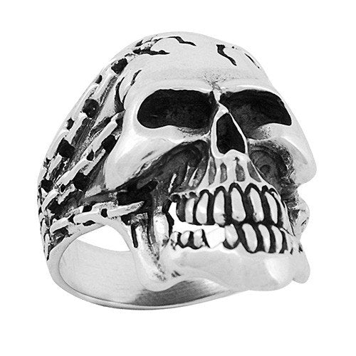 Stainless Steel Skull Ring With Chains (061)