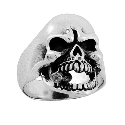 Stainless Steel Skull Ring With Cigar (063)