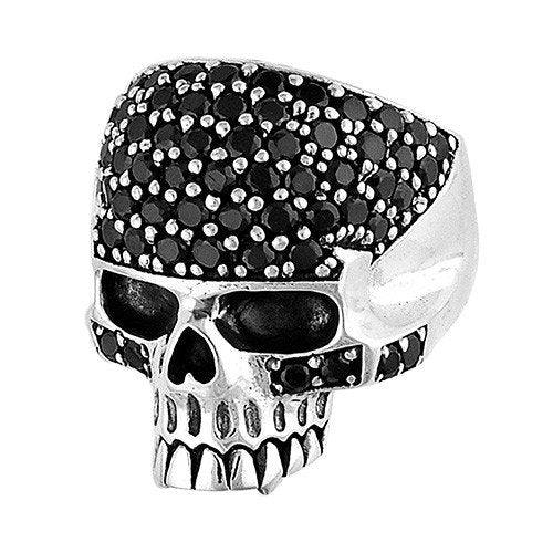 Stainless Steel Skull Ring With Black Stones & Vampire Teeth (065)