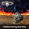 detailed flaming skull ring
