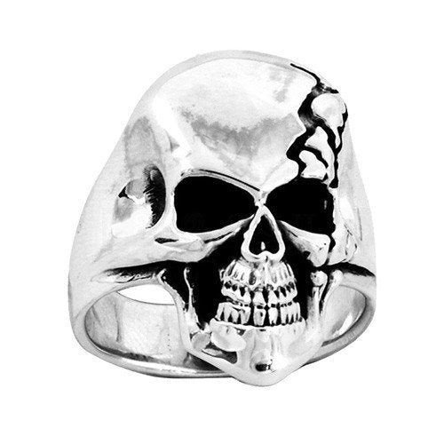 Stainless Steel Broken Skull Skull Ring (069)