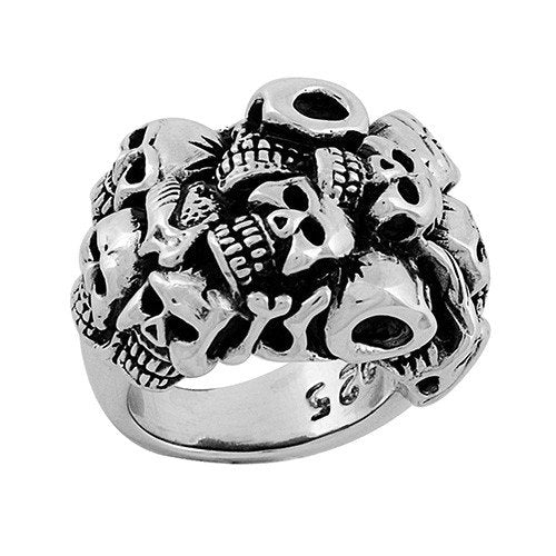 Stainless Steel Multiple Skulls Ring (070)