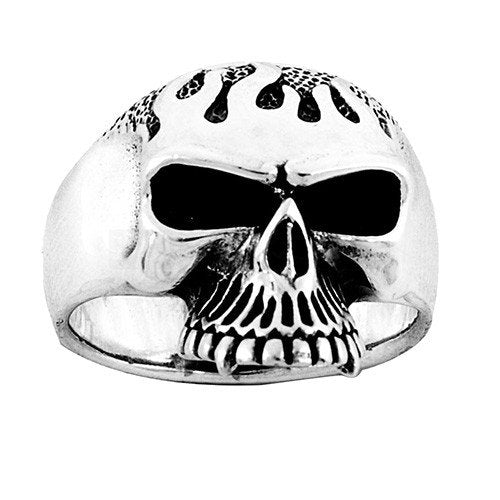 Flaming Jawless Skull Ring With Detailed Head (071)
