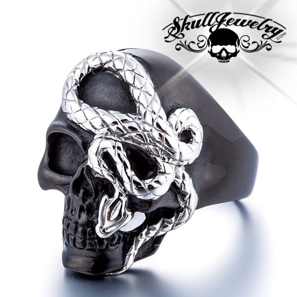 'Snake Eyes' Stainless Steel Skull Ring