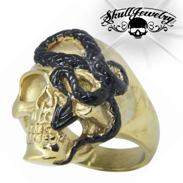 Gold-Tone 'Here I Go Again' Stainless Steel Skull Ring
