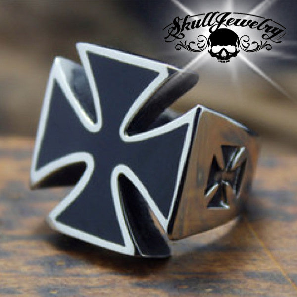 Stainless Steel Iron Cross Ring And Black Enamel