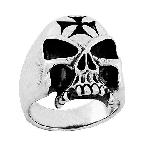 black cross on skull ring