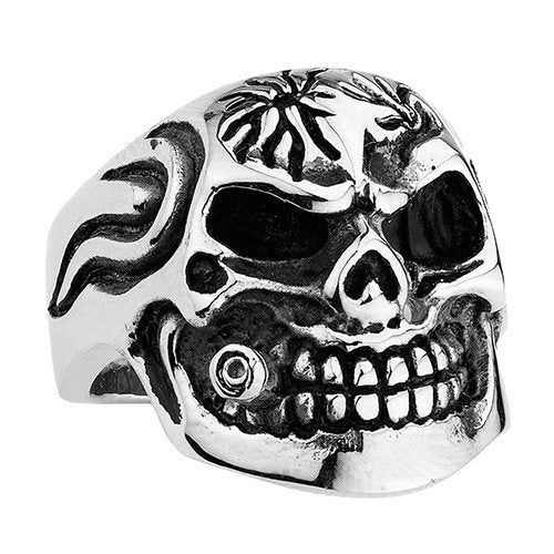 Skull Ring With A Bullet In Mouth (094)