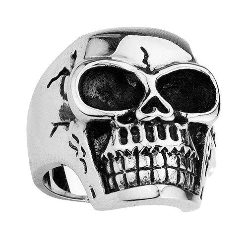Stainless Steel Skull Ring With Some Cracks And Large Eyes