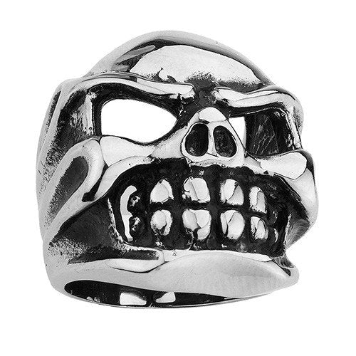 Stainless Steel Skull Ring With Big Teeth and Hollowed Eyes (098)