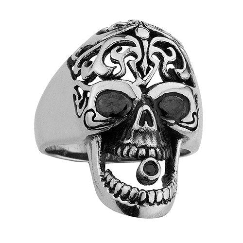 Stainless Steel Skull Ring With Fancy Cross Design On The Head & Black Stone In Eyes And Mouth (101)