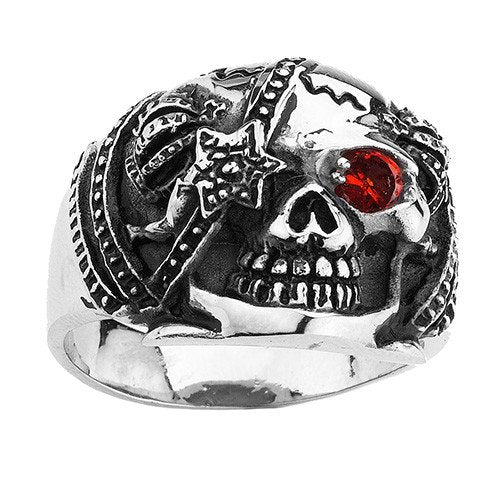 Rock and Roll Skull Ring With A Stone In The Eye - KISS Paul Stanley (102)