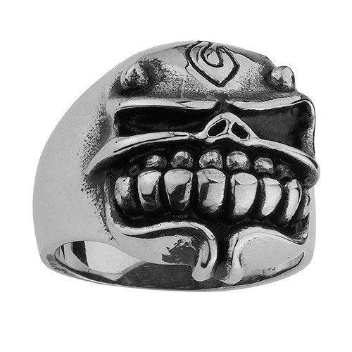 Stainless Steel Skull Ring with Horns and Goatee (105)