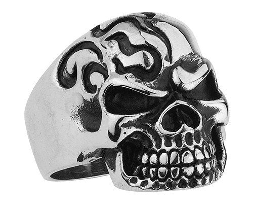Flaming Head Skull Ring (107)