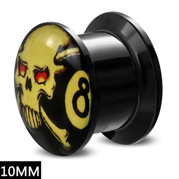 10mm Black Acrylic #8 w/Crossbones Ear Plug