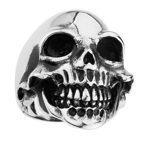 Stainless Steel Simple And Smiling Skull Ring With Cheakbones (111)