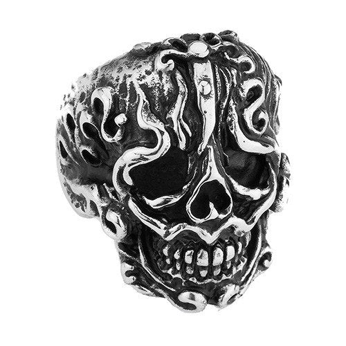 Flame Around The Face Skull Ring