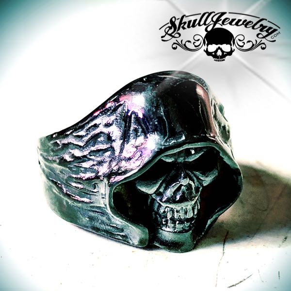 Black Shadow grim reaper skull ring