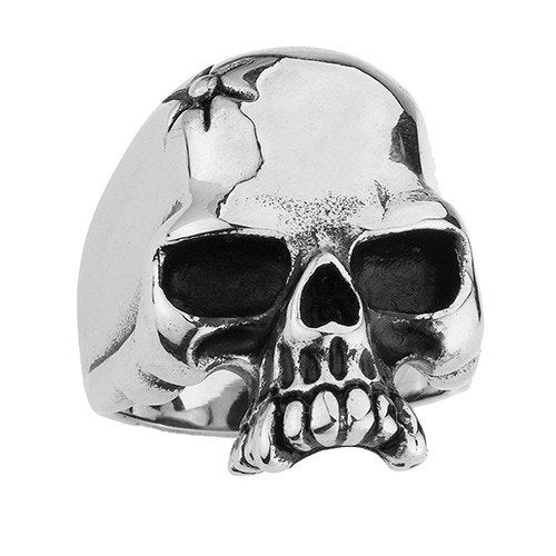 Stainless Steel Skull Ring With A Bolt Bullet In The Head and Vampire Teeth (118)