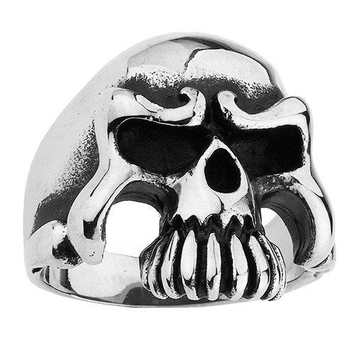 Stainless Steel Skull Ring With Long Teeth & No Bottom Jaw (122)