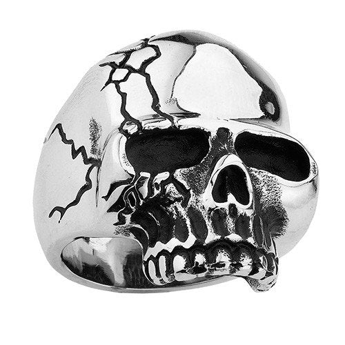 Stainless Steel Skull Ring With More Cracks On One Side (126)