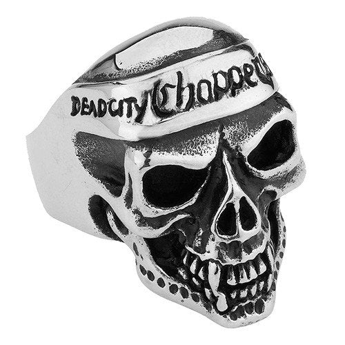 Dead City Choppers Skull Ring with Bandana (127)